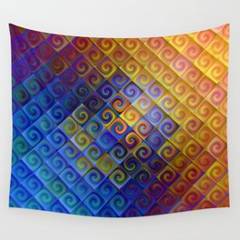 Spirals in Squares 3 Wall Tapestry