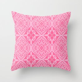 BOHEMIAN PALACE, ORNATE DAMASK: POODLE PINK Throw Pillow