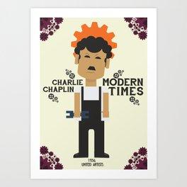Charlie Chaplin, Modern Times, minimal movie poster Art Print