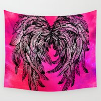 angel wings Wall Tapestries featuring Pink Galaxy Angel Wings by Mad Love