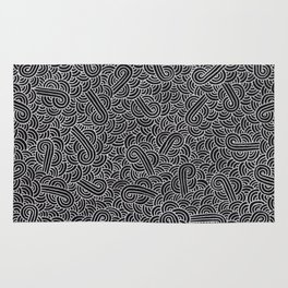 Black and faux silver swirls doodles Rug