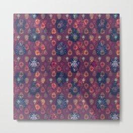 Lotus flower - orange and blue on mulberry woodblock print style pattern Metal Print