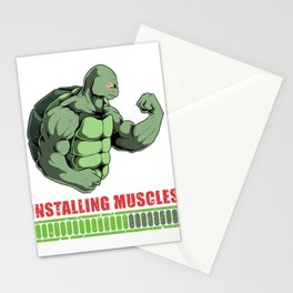 Installing Muscle Turtle Working Out Muscle Gains Stationery Cards