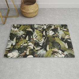 Tropicalia in Dark Greens / Paradise Birds and Exotic Plants Rug