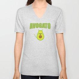 Avogato Funny Spanish Cat for Avocado Lover Unisex V-Neck