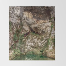 The Holy Cave of Covadonga Throw Blanket