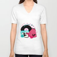 rock n roll V-neck T-shirts featuring Rockabilly Rock n Roll by BURPdesigns