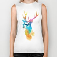 stag Biker Tanks featuring Sunny Stag by Robert Farkas