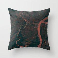 Philadelphia Map Red Throw Pillow