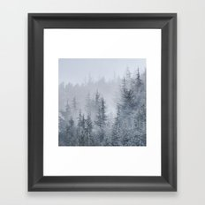 Early moorning... Into the foggy woods Framed Art Print