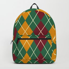 Maroon Green And Gold Argyle Backpack