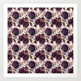 Small Burgundy Blossom Bouquets on Soft Pink  Art Print