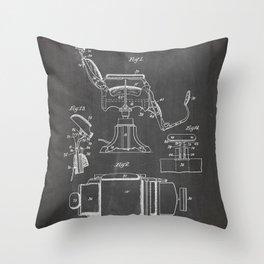 Barbers Chair Patent - Barber Art - Black Chalkboard Throw Pillow