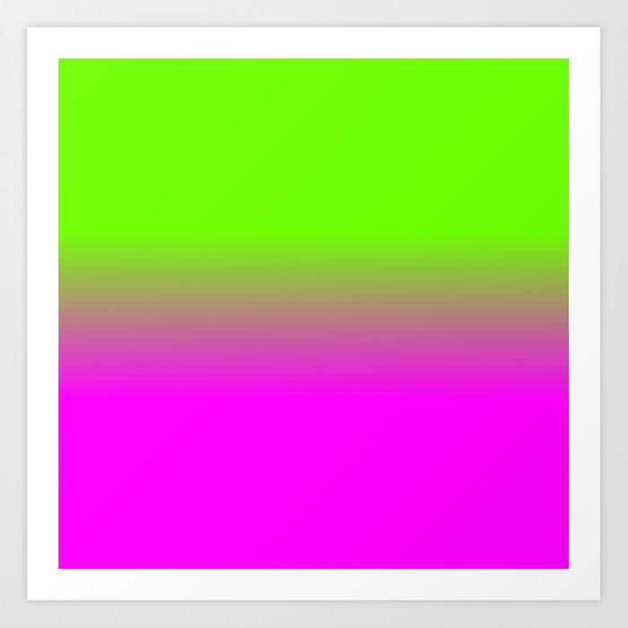 Neon Green and Hot Pink Ombré Shade Color Fade Art Print ...
