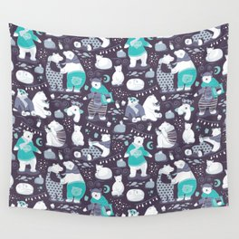 Arctic bear pajamas party Wall Tapestry