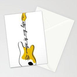 Guitar Modern Line Art Stationery Cards