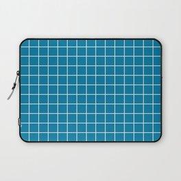 CG blue - blue color - White Lines Grid Pattern Laptop Sleeve