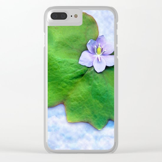 Light blue on light blue Clear iPhone Case