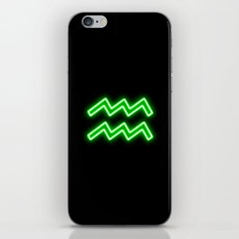 Bright Neon Green - Aquarius the Water Bearer Star Sign iPhone Skin