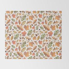Watercolour Autumn Leaves. Throw Blanket