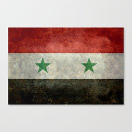 Syrian national flag, vintage Canvas Print
