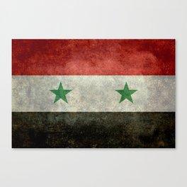 Syrian national flag, vintage Canvas Print