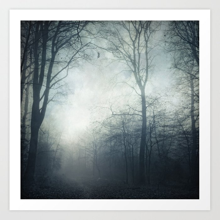 Dark Path - Misty Forest in November Art Print
