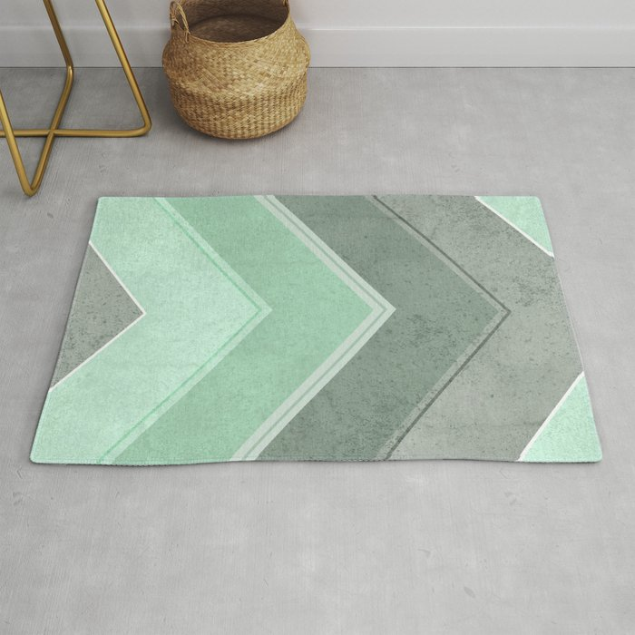 MINT TEAL GRAY CONCRETE CHEVRON Rug by