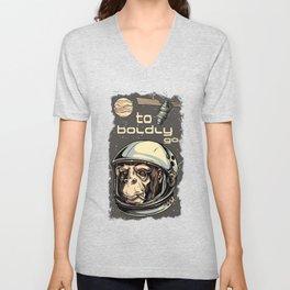 To Boldy To Go Chimp Astronaut Unisex V-Neck