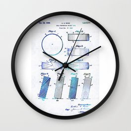 Blue Hockey Art - Hockey Puck Patent - Sharon Cummings Wall Clock