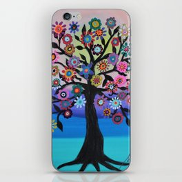 Whimsical Blooming Love Tree of Life Painting iPhone Skin