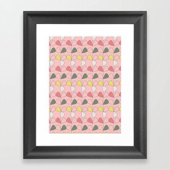 Vintage Leaves pink Framed Art Print