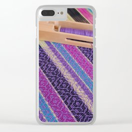 Striped point twill, purple Clear iPhone Case