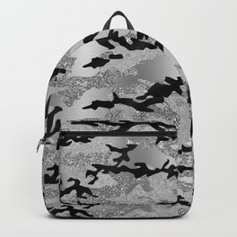 Silver Faux Glitter Camouflage Backpack