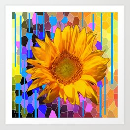 COLORFUL CARNIVAL YELLOW SUNFLOWER  ABSTRACT ART Art Print