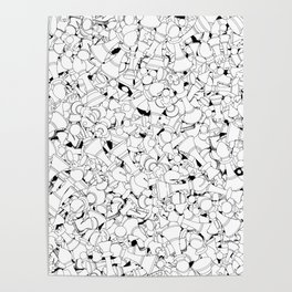 Chess Pattern WHITE Poster