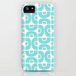 Groovy Mid Century Modern Pattern 731 Turquoise iPhone Case