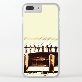 wooden bench and wooden fence Clear iPhone Case