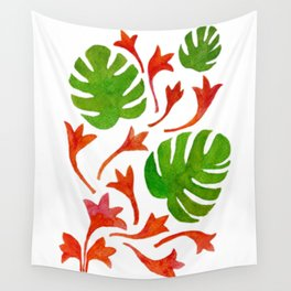 Monstera Leaves with orange flowers Wall Tapestry