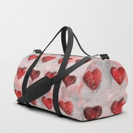 Heart Love Red Mixed Media Pattern Gift Duffle Bag