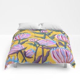 Bold Protea Flower Pattern - Pink Blue Green Purple Yellow Comforters