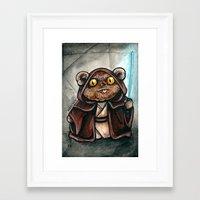 jedi Framed Art Prints featuring Ewok Jedi by Megan Mars