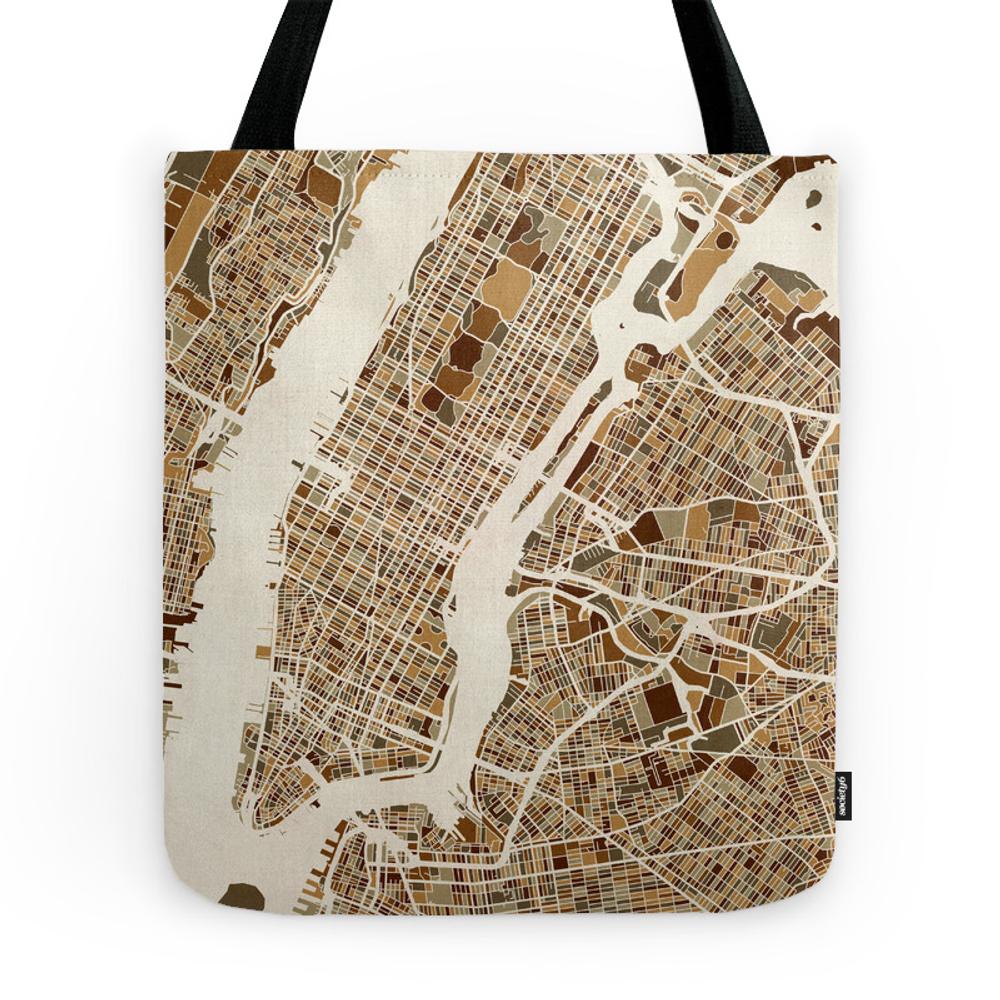 New York City Street Map Tote Purse by artpause (TBG7831090) photo