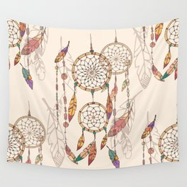 Bohemian dream catcher with beads and feathers Wall Tapestry