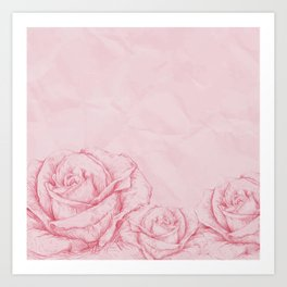 Vintage Roses Floral Pink Decorative Art Print