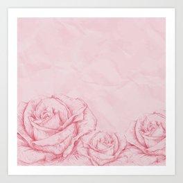 Vintage Roses Floral Pink Decorative Art Print