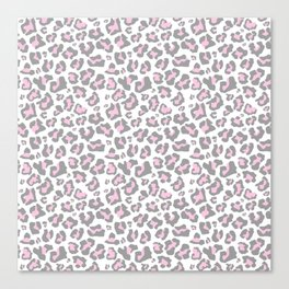 Pastel pink gray vector modern cheetah animal print Canvas Print