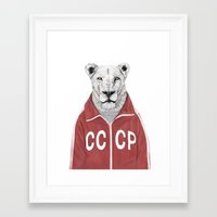 soviet Framed Art Prints featuring Soviet lion by Balazs Solti
