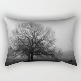 Field of Trees in Black and White Rectangular Pillow