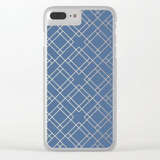Simply Mid-Century in White Gold Sands on Aegean Blue Clear iPhone Case